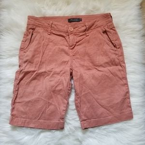 Anthropologie Level 99 Linen Bermuda Shorts 26